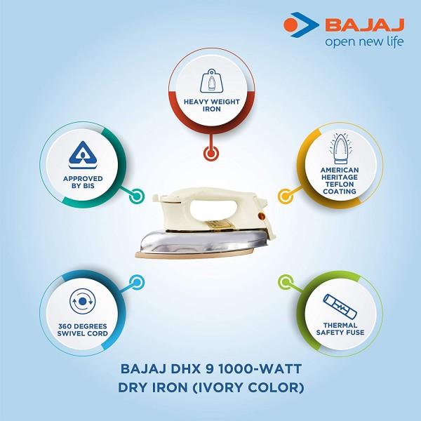 Bajaj DHX 9 1000-Watt Dry Iron (Ivory Color) toorshop