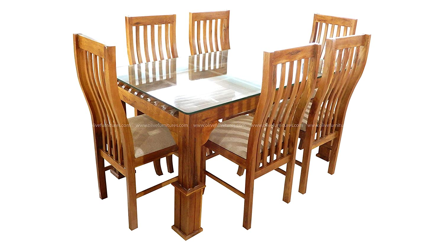Furniture Teak Wood Dining Table With Glass Top Set Of 6 Seater Wooden Chairs Toorshop