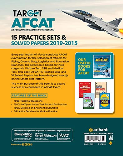 AFCAT 15 Practice Sets and Solved Papers 2021 toorshop toor shop