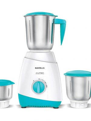 Havells ASPRO 500 Watt Mixer Grinder with 3 Stainless Steel Jar (White & Light Blue) with 5 year motor warranty toorshop toor shop