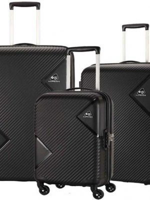 Large Cabin & Check-in Luggage (79 cm) - Spinner Hard Trolley Hard Sided Set of 3 Pieces - black toorshop toor shop