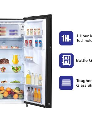 Haier 220 L 3 Star Direct-Cool Single Door Refrigerator (HRD-2203CSG-E, Black Spiral Glass) toorshop toor shop chirag electronics